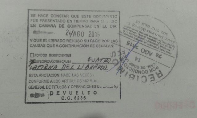 Fotografia del anverso del cheque de Indemaya que fue devuelto a Fidencio Briceño por mala firma