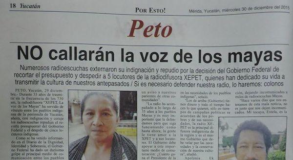 Uno de los varios titulares que dedicó el diario Por Esto al tema de la radio maya XEPET