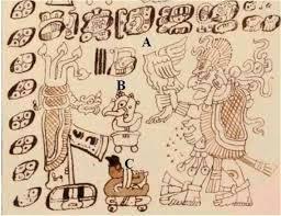 Fragmento del Códice Dresde que muestra la ofrenda maya de un pavo decapitado