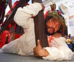 Via crucis viviente en Acanceh. Foto: Internet