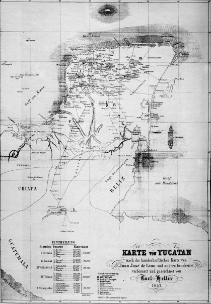 Karte von Yucatan, 1847, en Historia Cartográfica de la Península de Yucatán, 1994, Michel Antochiw