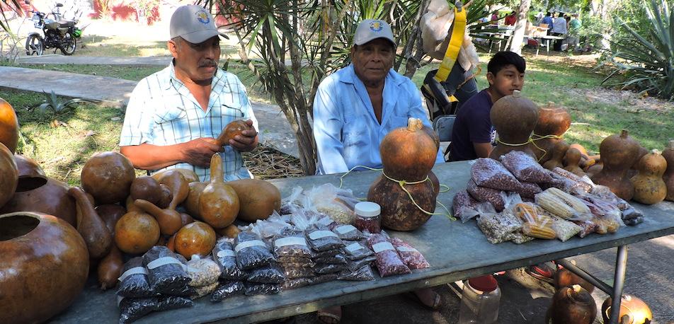 Campesinos de Xoy, comisaría de Peto, en la Feria de las Semillas en Chapingo