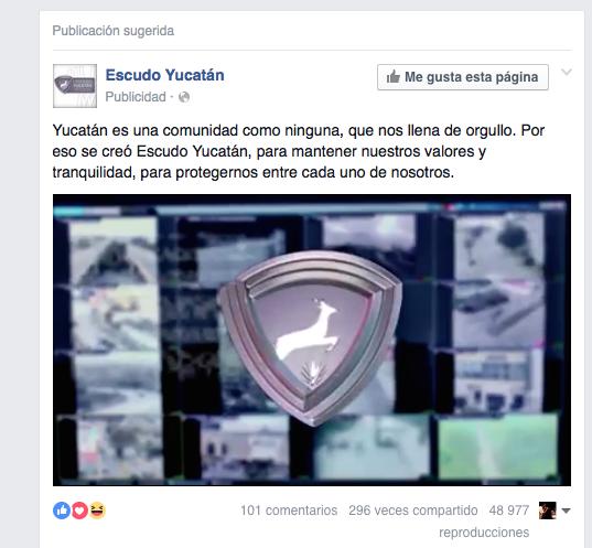 Promocional del gobierno del Estado de Yucatán en Facebook