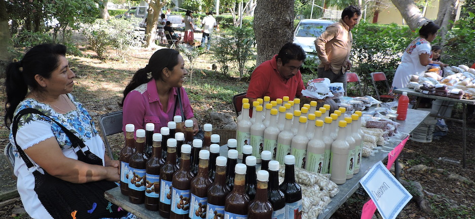 Mujeres de Chaksinkin que fabrican jarabes