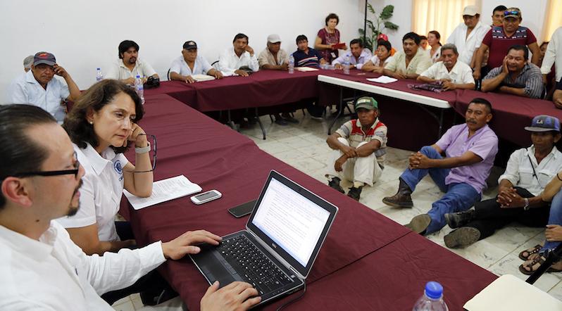 Un aspecto de la consulta indígena en Hopelchén este jueves pasado