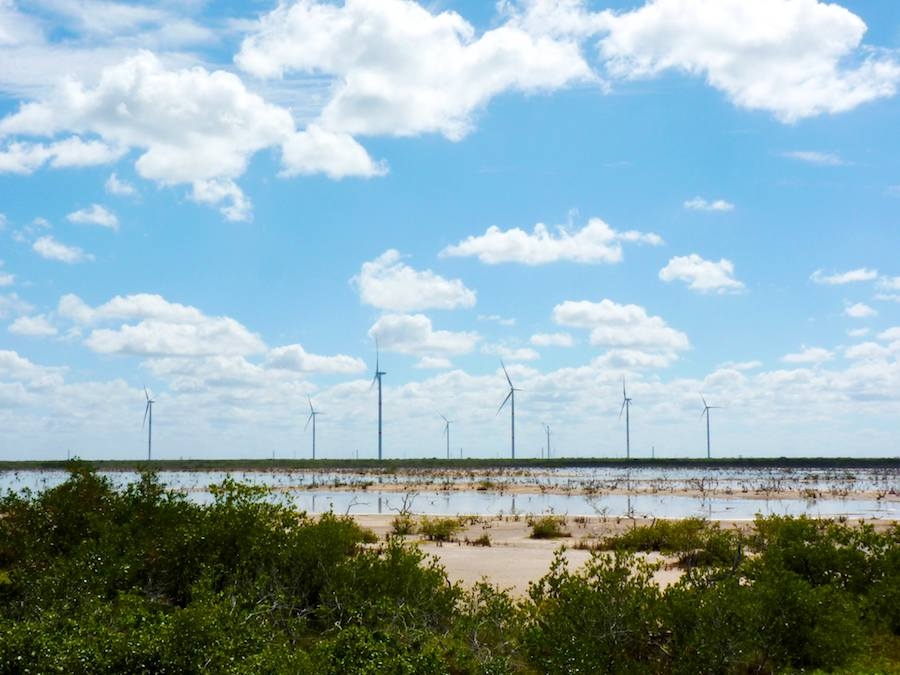 Postes y gigantescas hélices, en Dzilam, Yucatán