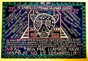 """Diseño de """"Balam"""", sobrenombre de un participante en el concurso Diseña contra el tren, convocado por Múuch' Xíinbal. Imagen tomada del FB del colectivo"""